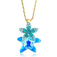 Flower Blue Zircon Crystal March Birthstone Aquamarine Swarovski Starfish Gift Pendant Pinterest