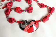 Lampwork Heart and Magnesite Necklace in Red and Black N1110, $28