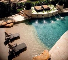 Love this beach themed swimming pool