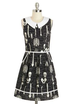 Rad to the Bone Dress - Cotton, Mid-length, Black, White, Novelty Print, Peter Pan Collar, Pockets, Casual, A-line, Sleeveless, Collared, Rockabilly, Quirky