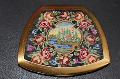 Vintage Compact Scenic Petit Point Purse Needlepoint Tapestry  Marked Elgin