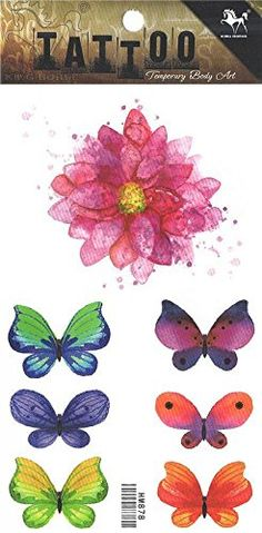 "Wonbeauty best and temporary tattoos Colorful flower and butterflies long lasting and realistic temporary tattoos. Tattoo size: 4.13""x*8.07"" (10.5CM x 20.5CM). Safe and non-toxic design ideal for body art. Professional grade made to last 3 to 5 days and easily transferred by water. Perfect for vacations, girls night, pool parties, bachelorette parties, or any other event you want to look glamorous."