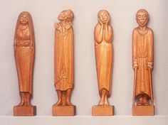 Here are four of Ernst Barlach's nine Listeners, an enigmatic series of 110 cm figures carved in oak 1930-1935. I greatly admire Barlach, who was born in 1870 near Hamburg. His direct figure carving produces, I once wrote, a 'loving, but lonely, vision of humanity'. Barlach was hated by the Nazis, especially his 1914-18 war memorials, which they destroyed as over-emphasising compassion over heroism. (Ernst Barlach Haus, Hamburg). War Memorials, Selection, Naive Art, Sculpting, Concept Art, Random Stuff, Art Pieces, How To Memorize Things, Carving