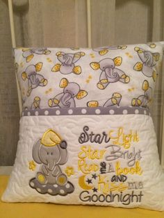 Pillow Embroidery, Machine Embroidery Applique, Towel Embroidery, Book Pillow, Reading Pillow, Pillos, Memory Pillows, Pillow Inspiration, Machine Embroidery Projects