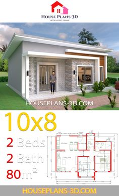 House Plans 10x8 with 2 Bedrooms Shed Roof - House Plans 3D