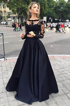 2016 Black Long Sleeves Two-Piece Bateau Prom Dresses Satin Floor Length