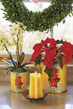 You Must See This Colorful Home Bursting With Christmas Cheer Plum Walls, Monkey Room, Citrus Garden, Boxwood Wreath, Wreaths, Old Room, Holiday Places, Christmas Decorations, Table Decorations
