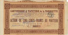 Cartonnerie et Papeterie de la Marquette - #scripomarket #scriposigns #scripofilia #scripophily #finanza #finance #collezionismo #collectibles #arte #art #scripoart #scripoarte #borsa #stock #azioni #bonds #obbligazioni