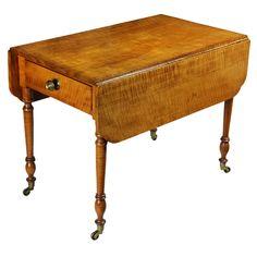 Tiger Maple Sheraton Pembroke Table, c.1810:::