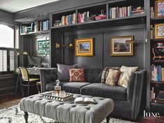 Dark Gray Paint Adds Sophistication to Built-In Cabinetry in Chicago Row House Den - Luxe Interiors + Design Home Office Design, House Design, Living Room Decor, Living Spaces, Living Rooms, Dark Grey Walls, Dark Gray Bedroom, Black Walls, Home Libraries
