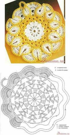 Scrap Potholders and Mats Set Crochet Pattern Crochet Hot Pads, Crochet Mat, Crochet Potholders, Crochet Diagram, Crochet Home, Crochet Doilies, Crochet Flower Patterns, Doily Patterns, Crochet Designs