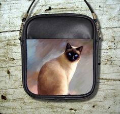 Small Sling Bag Purse Accessory Cat 613 Siamese Art Painting By L.Dumas