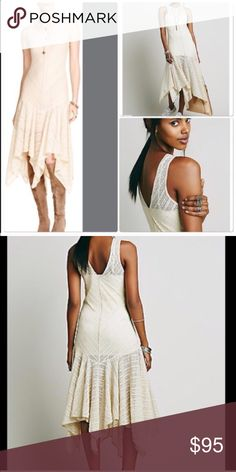 Free People Lace Dress Excellent chic look nwt Lace cream dress free People with shark bite hemline . Slip not included . Very stretchy material so can fit a size small medium or large. Nwt Free People Dresses