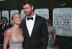 #ElsaPataky #ChrisHemsworth Golden Globe Award, Golden Globes, Elsa Pataky, Chris Hemsworth, Fashion, Moda, Fashion Styles, Fashion Illustrations