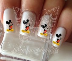 Watercolor Mickey Mouse Nail Art Water Decals transfers