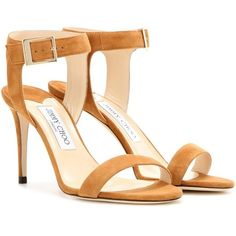 Jimmy Choo Truce 85 Suede Sandals ($625) ❤ liked on Polyvore featuring shoes, sandals, beige, beige sandals, jimmy choo shoes, suede sandals, beige suede shoes and suede leather shoes