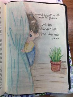 With unveiled face. Scripture Art, Bible Art, Bible Quotes, Bible Verses, Bible Study Notebook, Bible Study Journal, Art Journaling, Bible Drawing, Bible Doodling