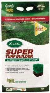 Scotts 2005 18.33-Pound Super Turf Builder Lawn Fertilizer by Scotts. Save 42 Off!. $17.54. Lawn will turn green in just a few days. Kid and pet friendly. Provides 5,000 sq. ft. of coverage. Apply in any season to any grass type. Build a healthier lawn with strong, deep roots using less water. From the Manufacturer                Apply to wet or dry lawn. When temperatures are consistently exceeding 90�F, water immediately after application to reduce stress on your lawn. ...