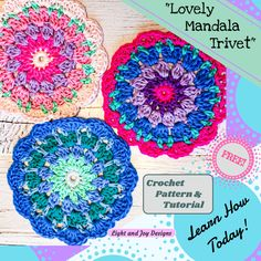 """Lovely Mandala Trivet"" – Free Crochet Pattern & Video Tutorial – Light and Joy Designs Crochet Round, Crochet Home, Crochet Gifts, Double Crochet, Free Crochet, Crochet Trivet Patterns, Crochet Mandala Pattern, Crochet Designs, Crochet Coaster"