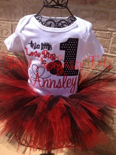 Little Lady Bug Birthday Outfit--First Birthday, Tutu