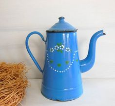 Antique vintage enamel COFFEE POT . Blue with flowers  . Kitchen decor !