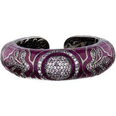 Pre-owned MCL by Matthew Campbell Laurenza Multi-Stone Enamel Cuff ($825) ❤ liked on Polyvore featuring jewelry, bracelets, purple, enamel cuff bracelet, cuff jewelry, preowned jewelry, matthew campbell laurenza and purple jewelry