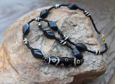 Mens Tribal Necklace with Agate Stone , Darkest Night African Tribal Natural Stone Jewelry