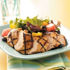 Refreshing Grilled Chicken Salad:  4 servings; 1 serving equals 300 calories, 12 g fat, 63 mg cholesterol, 25 g carbohydrate, 4 g fiber, 28 g protein. Diabetic Exchanges: 3 lean meat, 2 fat, 1 vegetable, 1 fruit, 1/2 starch