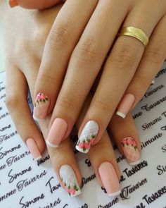 29 Ideias de unhas decoradas que pode fazer você mesma - The best fashion types in the world fashionlife Fancy Nails, Trendy Nails, Cute Nails, Cute Acrylic Nails, Gel Nails, Peach Colored Nails, Manicure E Pedicure, Flower Nail Art, Creative Nails