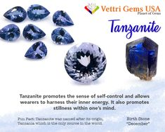Tanzanite is a birthstone of December. Tanzanite allows the owner to harness his or her inner energy. Vettri Gems USA is a colored stone and natural stone dealer and manufacture from Alexandrite-Zircon. As a member of ICA (International Colored Gemstones Association), we are proud of our high quality product and reliable service. Your satisfaction matters most. #gemstonesmeanings #naturalgems #naturalstones #vettrigemsusa #wholesalegems Diy Crystals, Crystals And Gemstones, Stones And Crystals, Natural Gemstones, Wicca, Magick, Diy Jewellery Designs, Paparazzi Consultant, Crystal Healing Stones