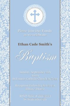 Baptism Invitations   Any Wording   Get These Invitations RIGHT NOW. Design  Yourself Online,  Create Invitations Online Free No Download