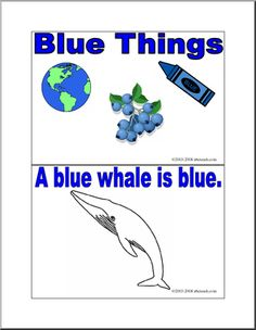 Blue Things booklet. Print and read or use on Ipad. Many free printable booklets on abcteach.com.