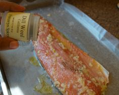 simple and easy salmon recipe garlic  1 lemon  olive oil  2-3 cloves garlic mashed with 1 tbsp salt dill 375 for 20 min in the oven