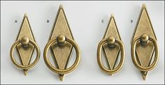 Cast zinc ring pulls with an antique brass finish and diamond-shaped escutcheons. Available with round or oval rings. Dresser Hardware, Kitchen Hardware, Furniture Hardware, Cabinet Hardware, Black Door Handles, Knobs And Handles, Knobs And Pulls, Drawer Pulls, Spray Paint Furniture