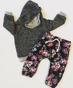 2-Piece Set Material: Cotton Gender: Baby Girls Fabric Type: Broadcloth Sleeve Length: Full Closure Type: Pullover Pattern Type: Floral Collar: Hoodie Department Name: Baby Item Type: Sets