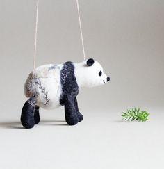 Felt Panda Nuo. Art Toy felted panda stuffed toy by TwoSadDonkeys