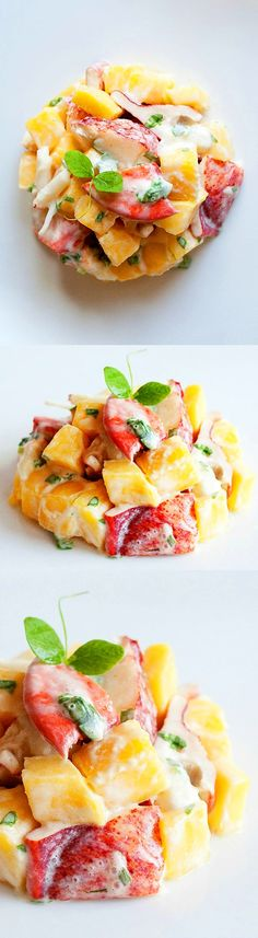 Mother's Day idea - Lobster and Mango Salad - amazing salad with lobster meat and fresh mango in a light honey cream dressing!! | rasamalaysia.com