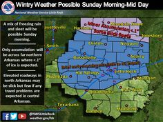 - says For Little Rock & Central Arkansas: Today: Sunny & Cold. Hi 39. Tonight: Increasing Clouds. Lo 28. Sunday: AM Freezing Rain Or Mix Then Warmer With Scattered PM Rain Showers. Hi 46. Sunday Night & Washington's Birthday: Scattered Showers. Lo 39. Hi Monday 58. Monday Night: Clearing. Lo 36. Tuesday Thru Friday: Sunny Warm Days & Mostly Clear Mild Nights. Hi Tuesday 65 & Lo 38. Hi Wednesday 61 & Lo 42. Hi Thursday 68 & Lo 51. Hi Friday 69. Updates: http://www.weather4ar.org/ - DCP2