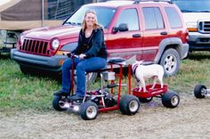 My wife, Tami cruising around on the Bar Stool Racer (BSR), pulling Bailey in the trailer