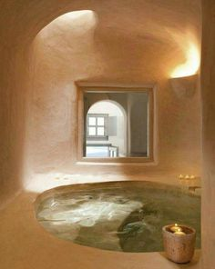 Tadelakt- and ahhhh! This is a dream set up Spa Design, Home Design, Design Ideas, Maison Earthship, Earthship Home, Inground Hot Tub, Home Interior, Interior Decorating, Interior Design