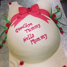 Goodbye Tummy Hello Mommy Baby Shower Cake Cake Gallery, Baby Shower Cakes, Christmas Bulbs, Bakery, Holiday Decor, Christmas Light Bulbs, Bakery Shops