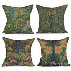 Cotton Linen Creative Green Forest Flower Peacock Pillow Case Sofa Cushion Cover