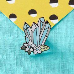 Blue Floral Crystals Enamel Pin