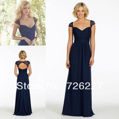 Cap Sleeves Empire Lace Plus Size Navy Blue Chiffon Long for Weddings Juniors Modest 2014 Bridesmaid Dresses with Sleeves