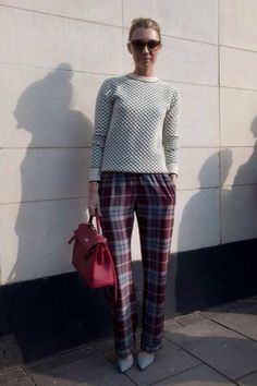 perfectly plaid #fashion #streetstyle #sweater #red #chic sweaters, fashion weeks, london calling, fall outfits, street style london, street styles, london fashion, trouser, plaid pant