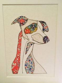 Excited to share this item from my shop: Whippet Art, Stitched Whippet Portrait, Liberty fabric picture. Liberty Quilt, Liberty Fabric, Greyhound Art, Fabric Pictures, Tiger Cubs, Tiger Tiger, Bengal Tiger, Wire Art, Applique Quilts