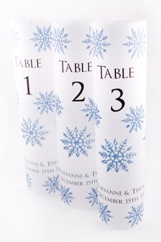 Set of 10 Snowflake Table Number Luminaries for Winter Weddings