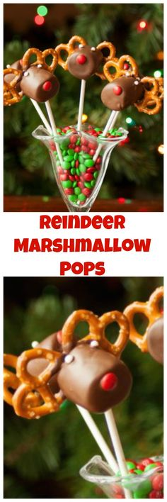 Reindeer Marshmallow Pops are the perfect combination of salty and sweet. They are a great centerpiece to any holiday party. #Christmas #ChristmasRecipe #ChristmasDessert #ChristmasTreat #KidsChristmas #ChristmasParty #Reindeer