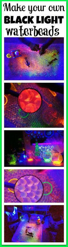 Make your own Black light water beads!  Easy to make and fun to play with!!