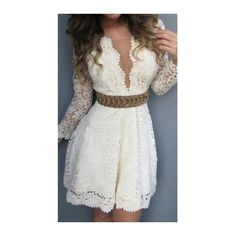 Rotita Round Neck V Back High Wasit Dress featuring polyvore, women's fashion, clothing, dresses, white, white sleeve dress, lace mini dress, white dress, white lace dress and long sleeve lace dress